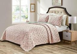 REVERSIBLE Floral Garden Pre-Washed 100%-Cotton Coverlet bed
