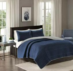 Comfort Spaces Reversible King Quilt Set Navy - 3 Piece Bayl