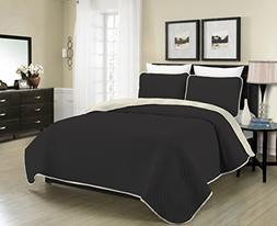 Blissful Living Reversible Luxury Pinsonic Solid Quilt Set I