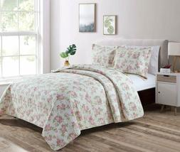 REVERSIBLE Pink Rose Vintage Washed 100%-Cotton Quilt Set  o