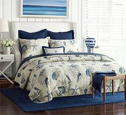 Nautical Queen Quilt Set 1 Reversible Bedspread and 2 Pillow