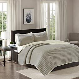Comfort Spaces Reversible King Quilt Set Taupe - 3 Piece Bay