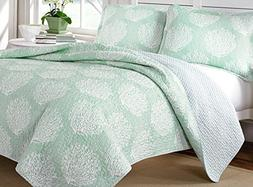 Laura Ashley Mist Reversible Quilt Set, Full/Queen, Floral,