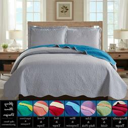 reversible solid colored quilt bedspread set assorted