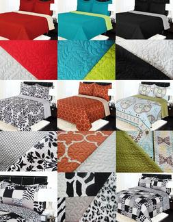 REVERSIBLE SOLID PRINTED QUILT BEDDING BEDSPREAD COVERLET PI