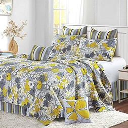 Virah Bella Reversible Stripe and Flower 5 Piece Quilt,Sham,