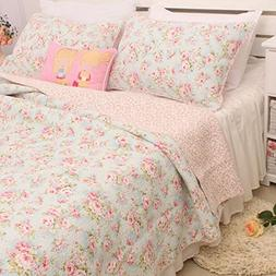 Brandream Romantic Rose Floral Bedding Set Girls Quilt Set F