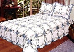 AHT Romantic Wedding Ring - 3 Piece Queen Quilt Bedding Set