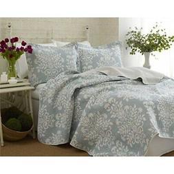 laura ashley rowland blue quilt set full/queen