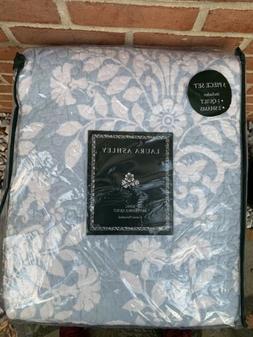 Laura Ashley Rowland Blue Reversible King 3 Piece Quilt Set,