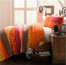 Lush Decor Royal Empire 3-Piece Quilt Set, King, Tangerine F