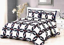 AHT Royal Wedding Ring - 3 Piece Queen Quilt Bedding Set