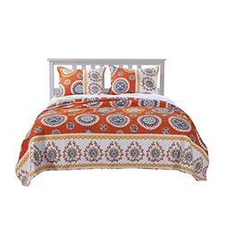 Barefoot Bungalow Rozario Quilt Set, King, Tangerine