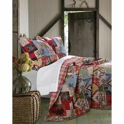 Greenland Home Fashions Rustic Lodge 3-piece Quilt Set Rust