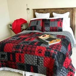 RUSTIC LODGE RED FOREST REVERSIBLE PATCHWORK-LOOK QUILT SET