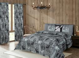 Rustic Mountain Lodge Quilt Bedding Set Cabin Woods Moose Be