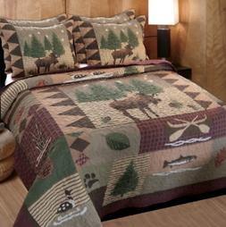 Rustic Quilt Set Moose King Size Quilt Bedding Comforter 2 S