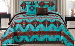 Rustic Southwestern Aqua Aztec Quilt Coverlet - 5 Piece Set