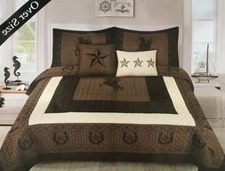 Rustic Star Rodeo Riding Cowboy Horseshoe Quilt Bedding - 5