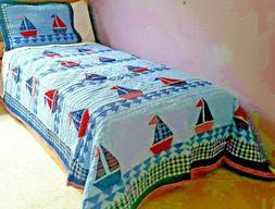 Sail Away 100% cotton children full/queen Quilt Set - featur