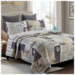 Sail Away Reversible Quilt Set, Classic Nautical Pattern, 3-