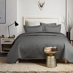 satin quilt set king grey