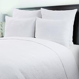 C&F Home Scallop Shell White Coastal Cotton 3 Piece King Qui