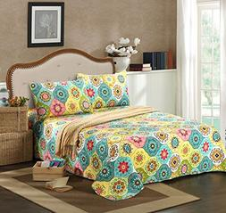 Tache Home Fashion SD3199-Cal King 3 Piece Geo Multi Spring