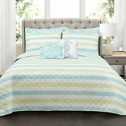 Sealife Stripe Quilt 7 Piece Set