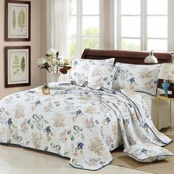 Brandream Seashells Bedding Beach Themed Bed Quilt Set Nauti
