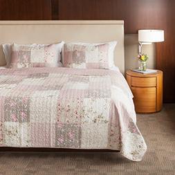 SLPR Secret Garden 3-Piece Real Patchwork Cotton Quilt Set