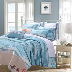 3 Piece Serene Maui Themed Reversible Quilt Set King Size, N