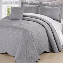Serenta Damask 4 PCs Bedspread Quilt Set Bed in a Bag Cover