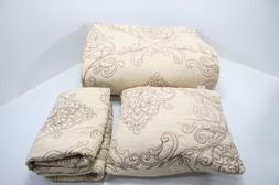 Serenta Damask 4 Piece Bedspread Set w Shams Decorative Pill