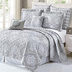 Serenta 7 Piece Printed Microfiber Melody Bedspread Quilts S