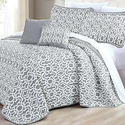 Home Soft Things Serenta 5 Piece Printed Microfiber Quilt Se