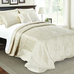 Serenta Quilted Satin 4 Piece Bed Spread Coverlet Cover Set