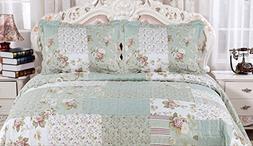 English Roses Quilt set, Cotton rich,prewashed, preshrunk.As
