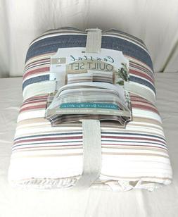 Coastal Quilt Set King Size Reversible 100% Cotton Fiber Com