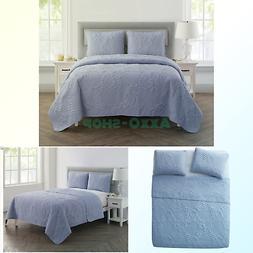 VCNY Home Shells 3 Piece Quilt Set, King, Blue