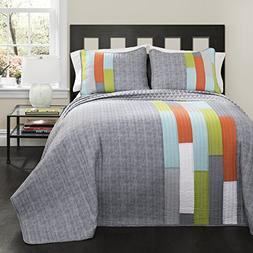 Lush Decor 3 Piece Shelly Stripe Quilt Set, Full/Queen, Oran