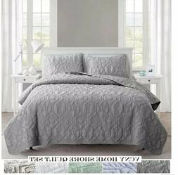 VCNY Home Shore 3 Piece Quilt Set, Queen, Grey