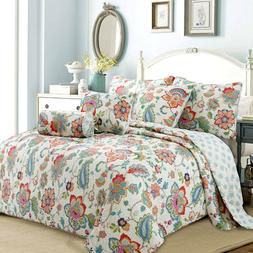 Spring Floral 3-Piece Reversible Quilt Set, Bedspread, Cover