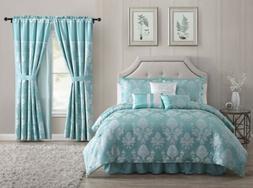 7-Piece Aqua Blue Silver Jacquard Floral Comforter or 4-Piec