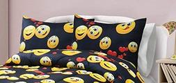 SKB Family Emoji Madness Comforter Set - Black Multi Home De