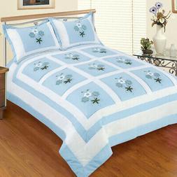 sky blue fantasy hand appliqued quilt set