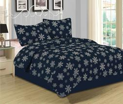 Snowflake Quilt Bedding Set Winter Holiday Christmas, Navy a