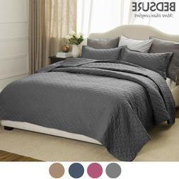 Bedsure Soft 3 Piece Basketweave Quilt Set Lightweight Cover