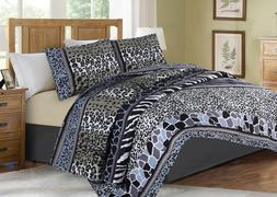 Soft Coverlet Bedspread 2/3 PC Quilt Set Zebra Leopard Giraf