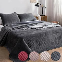 Soft Flush Flannel Velvet BlanketQuilt Bedspread Bedding C